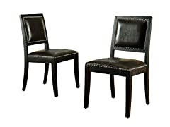 Monaco Bicast Leather Dining Chairs Set of 2