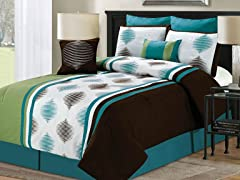 8-Pc Haru Comorter Set- Teal (Multiple Sizes)