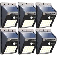 6-Pks. Holan 12LED Waterproof Solar Motion Sensor Lights (Black)