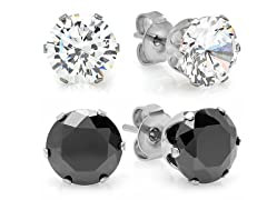 2-Pack Stud Earrings w/ Sim Diamond