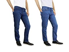 Men's Straight Leg Slim Cut Jeans 2 pk