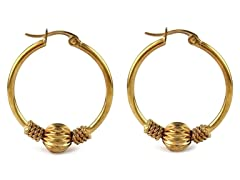 18kt Gold Plated 28mm Ball Hoops