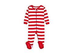Red & White Striped Baby Sleeper Pjs