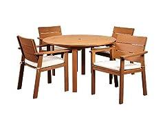 5-Piece Eucalyptus Round Dining Set