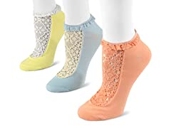 MUK LUKS 3-pk Lace No Show Socks