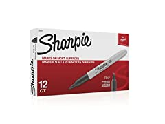 12-Pack Sharpie Permanent Markers, Fine Point, Black