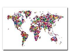 Butterflies World Map II  18x24 Canvas
