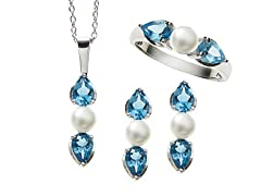 Sterling Silver, Blue Topaz & Pearl Set
