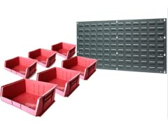 "Wall Panel with 6-15"" x 16"" x 7"" Bins, Berry"