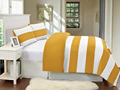 Delia Stripe Duvet Set-Mustard-2 Sizes