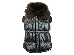 Brown Ultra Fur Collar Metallic Jacket