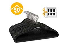 50 Pack Velvet Multi-use Hangers with 10 Clips