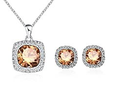 18K Gold Plated Halo Pave Set