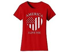 Womens America Flag Heart I Love You