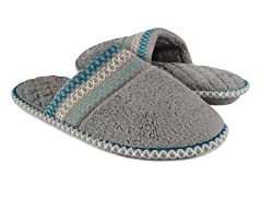 Muk Luks Cathy Micro Chenille Closed Toe Slippers, Grey