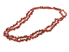 "36"" Endless Pink Coral Chip Necklace"