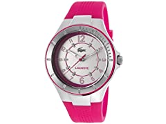 Women's Silver Tone Dial Pink Silicone