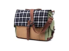 Canvas Messenger Bag with Plaid Flap