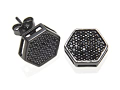 Simulated Diamond Hexagon Stud Earrings