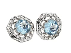 SS Octagon 8-Prongs Blue Topaz Gemstone w/Diamond Studs