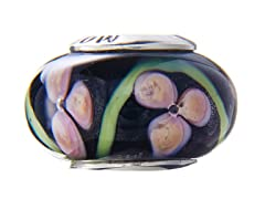Pink Flower Design Murano Glass Bead