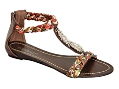 Braided T-Strap Sandal, Brown With Fringe