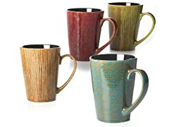 Four 17 oz Mugs Ribbed Glaze