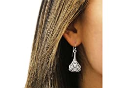 Oxidzed Sterling Silver Lotus Earrings