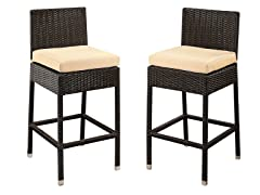 Ascher Set of 2 Outdoor Wicker Bar Stools with Cushions