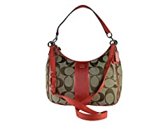 Coach Signature Stripe Convertible Hobo, Kh/Or