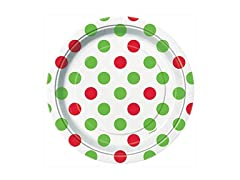 Unique Red & Green Polka Dot Christmas Dessert Plates,
