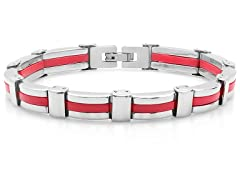 Stainless Steel Link Bracelet w/ Rubber