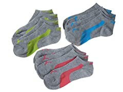 Womens Non-Terry Low Cut, Grey/Multi 6pk