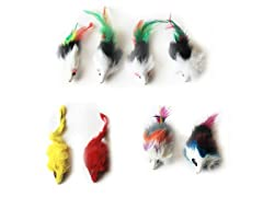 Long Hair Fur Mice Toy Set - 8 Pieces