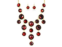 Gold-Plated Red Ruby Fancy Jewelry Set