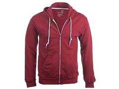 Goldtoe Men's Fleece Full Zip Hoodie, Independence Red, M