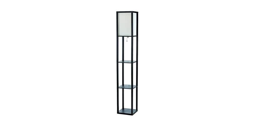 Floor lamp etagere organizer storage shelf with linen shade for Etagere torchiere floor lamp with 3 glass shelves