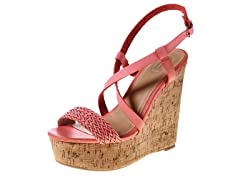 Carrini Strappy Braided Wedge Sandal, Coral