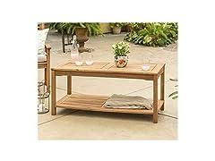 Walker Edison Acacia Wood Outdoor Patio Coffee Table