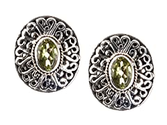 18k Gold Accent Peridot Stud Earrings