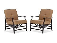 Cast-Aluminum Deep-Seating Motion Chair, Set of 2