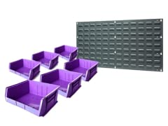 "Wall Panel with 6-11"" x 11"" x 5"" Bins, Purple"