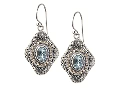 18kt Gold Accent Blue Topaz Earrings