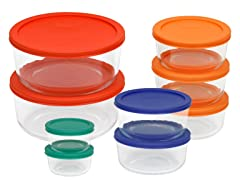 Pyrex 18-Piece Storage Set Color Lids