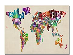 Typography World Map II  18x24 Canvas