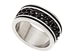 2-Tone Black Stainless Steel Cuban Ring