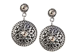 18kt Gold Accent & Silver Round Earrings