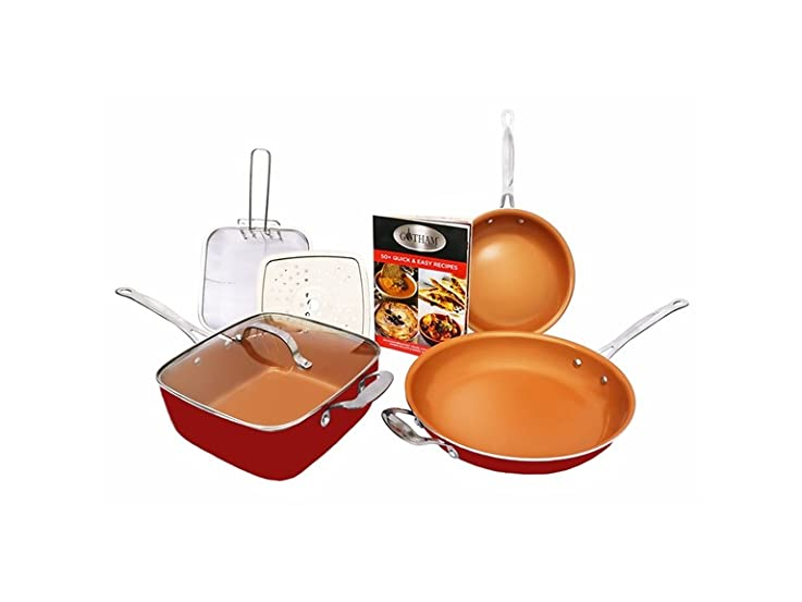 Gotham Steel Pantastic 7 Piece Set, Red