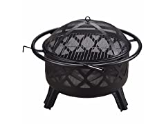 Outdoor 30-Inch Round Steel Wood Burning Fire Pit