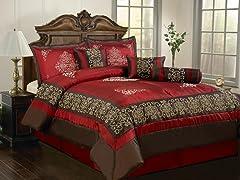 Nikita 7pc Comforter Set - Burgundy - 2 Sizes